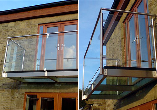 Glass balcony for Stainless steel balcony